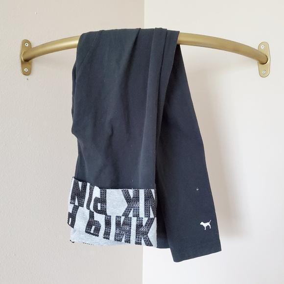 PINK Victoria's Secret Pants - PINK Victoria's Secret Rhinestone Black Leggings M